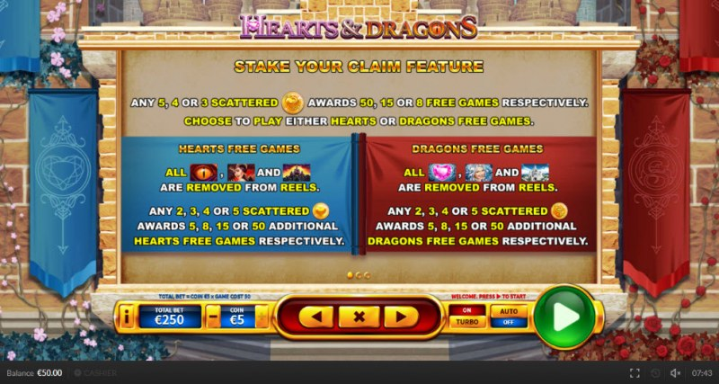 Hearts & Dragons :: Free Spins Rules