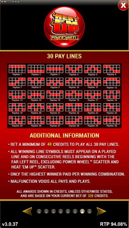 Heat 'Em Up Power Wheel :: Paylines 1-30