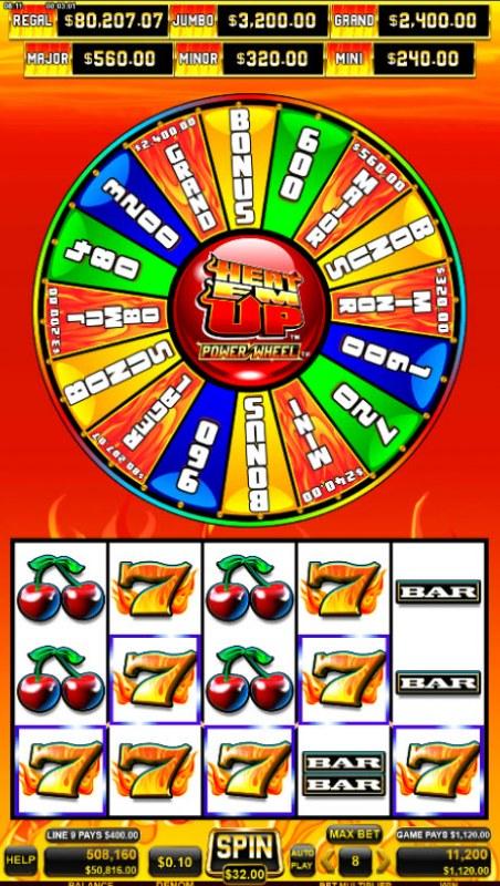 Heat 'Em Up Power Wheel :: A five of a kind win