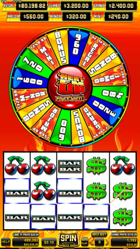 Heat 'Em Up Power Wheel :: A four of a kind win