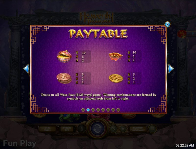 Heavenly Treasures :: Paytable - Low Value Symbols