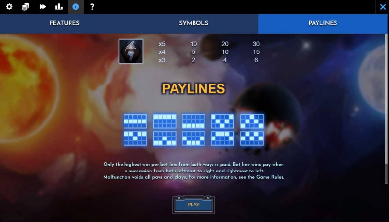 Helio Luna Revenge :: Paylines 1-10