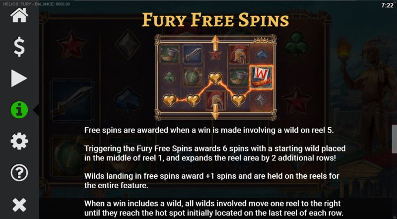 Helios' Fury :: Free Spin Feature Rules