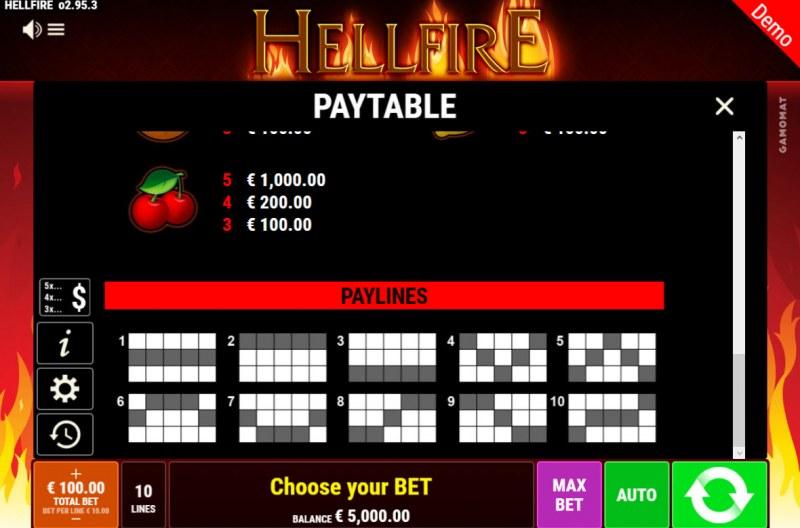 Hellfire :: Paylines 1-10