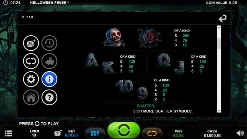 Helloween Fever :: Paytable - Low Value Symbols