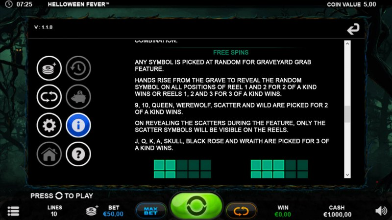 Helloween Fever :: Free Spin Feature Rules