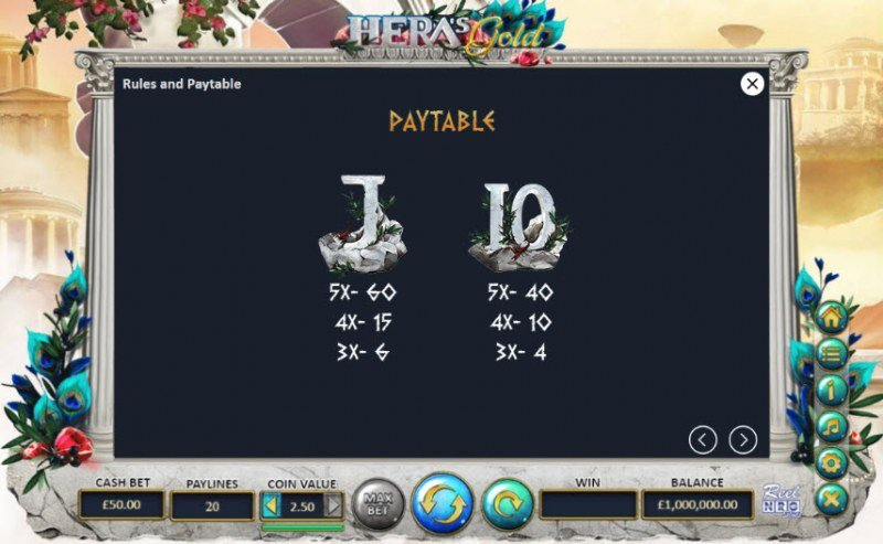 Hera's Gold :: Paytable - Low Value Symbols
