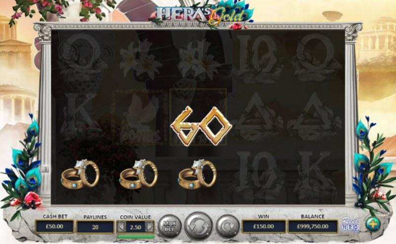 Hera's Gold :: A three of a kind win