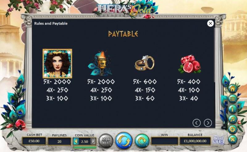 Hera's Gold :: Paytable - High Value Symbols