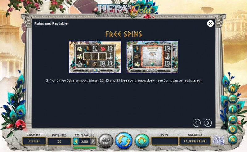 Hera's Gold :: Free Spins Rules