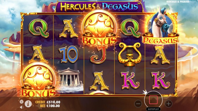 Hercules & Pegasus :: Scatter symbols triggers the free spins feature