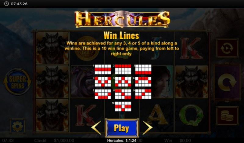 Hercules :: Paylines 1-10