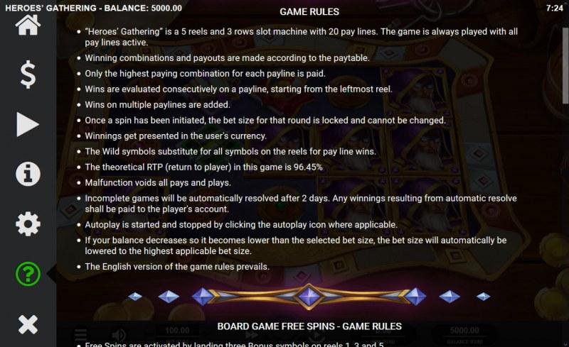 Heroes' Gathering :: General Game Rules