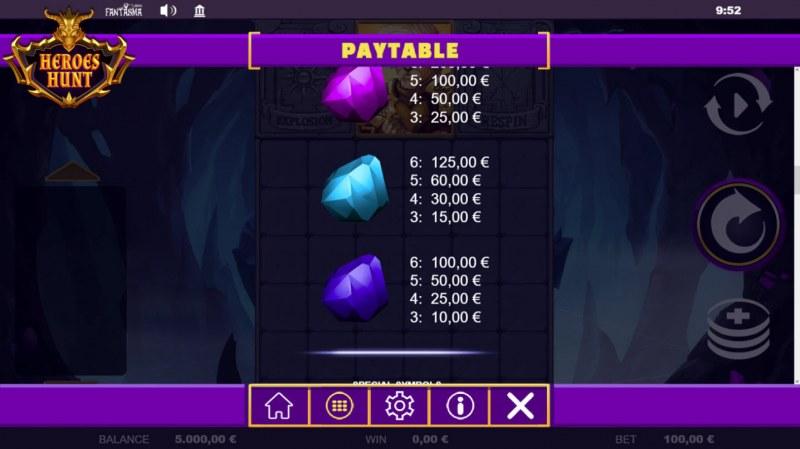 Heroes Hunt Megaways :: Paytable - Low Value Symbols