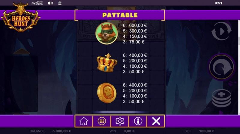 Heroes Hunt Megaways :: Paytable - Medium Value Symbols