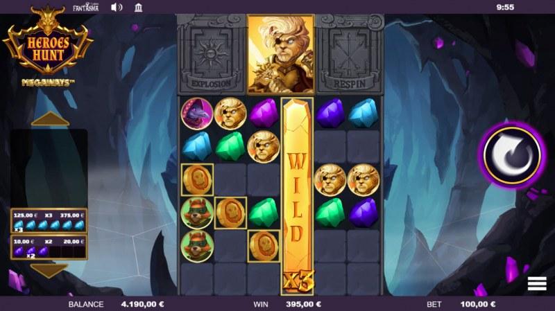 Heroes Hunt Megaways :: Stacked wild symbols triggers multiple winning combinations