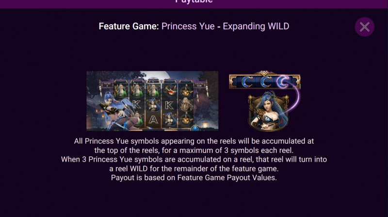 Heroes Rise of the Legend :: Princess Yue Expanding Wild Feature Rules