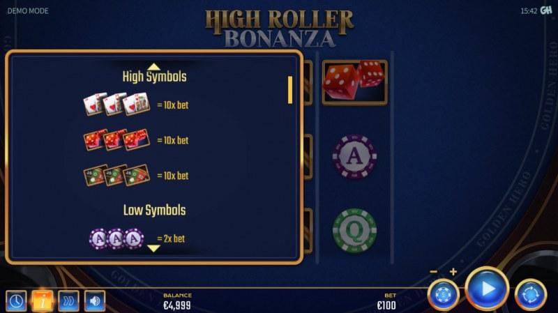 High Roller Bonanza :: Paytable - High Value Symbols