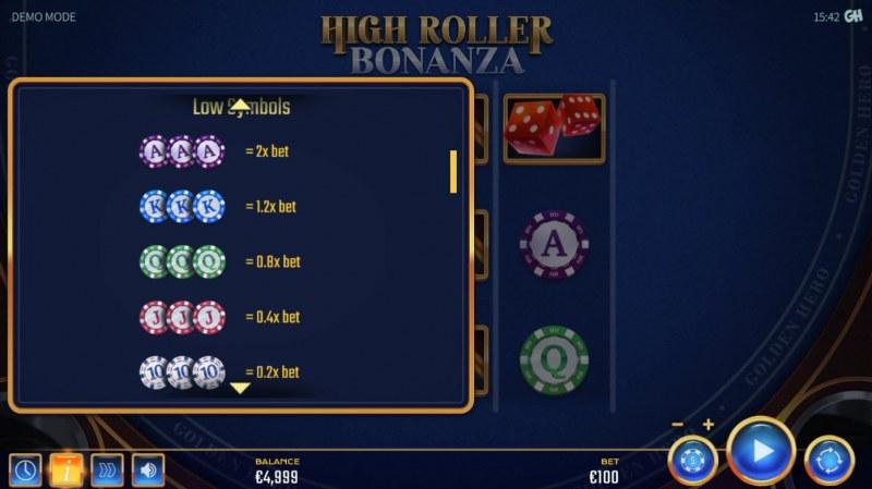 High Roller Bonanza :: Paytable - Low Value Symbols