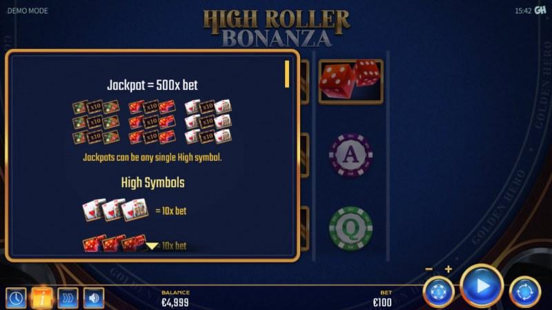 High Roller Bonanza :: Jackpot Rules