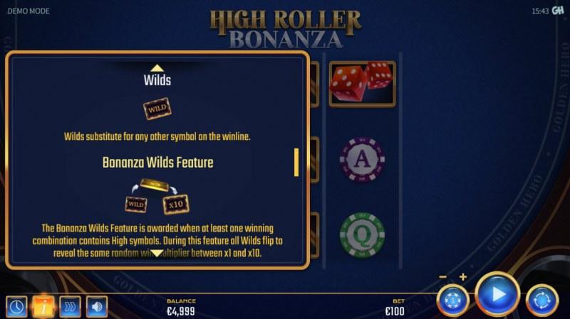 High Roller Bonanza :: Wild Symbol Rules
