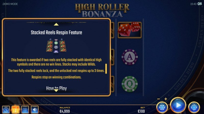 High Roller Bonanza :: Stacked Reels Respin Feature