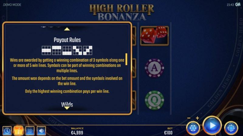 High Roller Bonanza :: Paylines 1-5