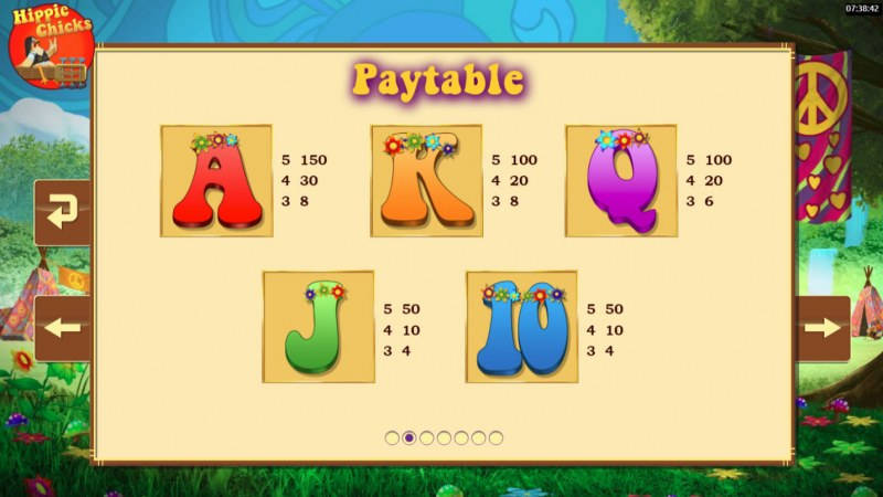 Hippie Chicks :: Paytable - Low Value Symbols