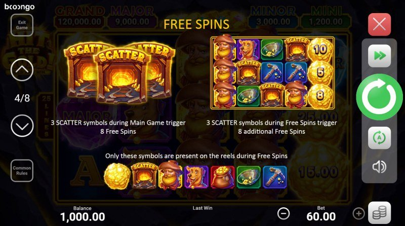 Hit the Gold! Hold and Win :: Free Spin Feature Rules