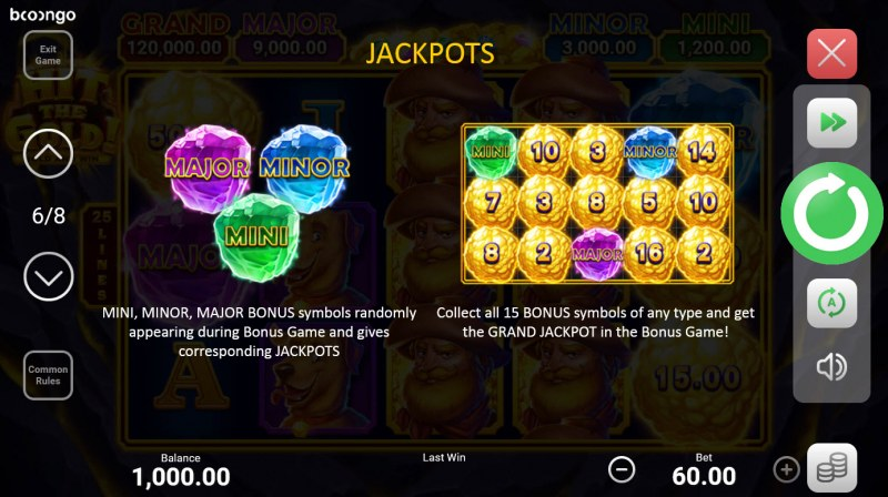 Hit the Gold! Hold and Win :: Jackpot Rules