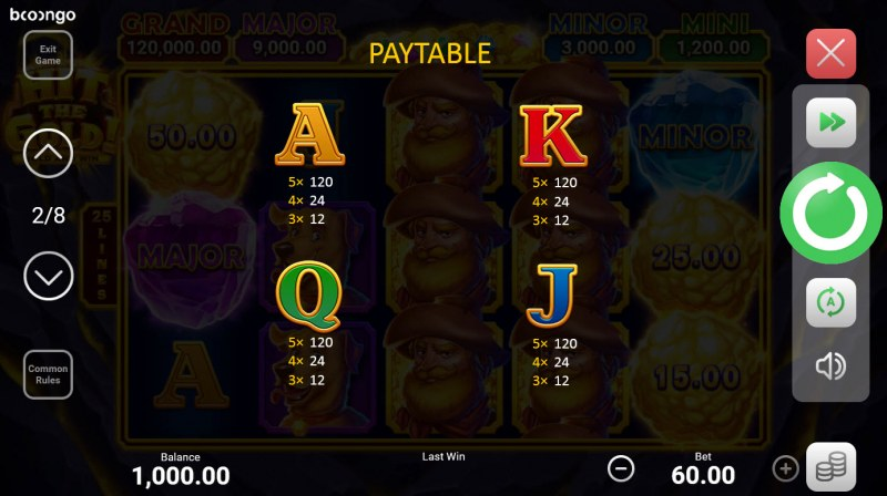 Hit the Gold! Hold and Win :: Paytable - Low Value Symbols
