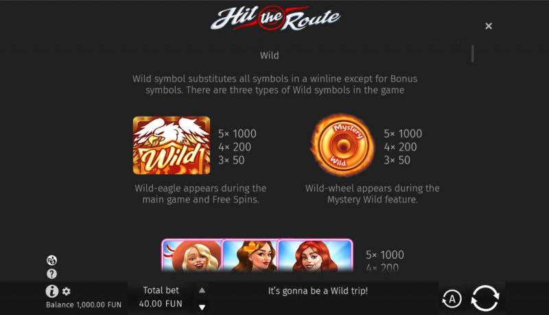 Hit the Route :: Wild Symbol Rules