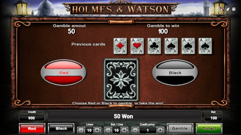 Holmes & Watson :: Black or Red Gamble Feature