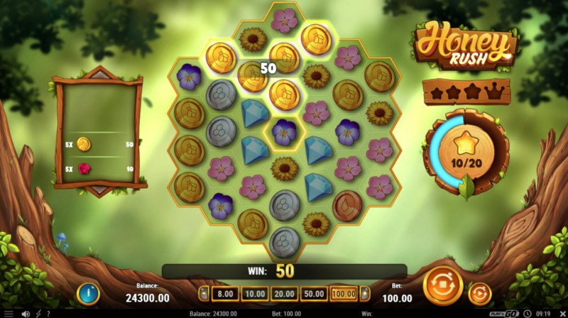 Honey Rush :: Winning symbols are removed from the reels and new symbols drop in place