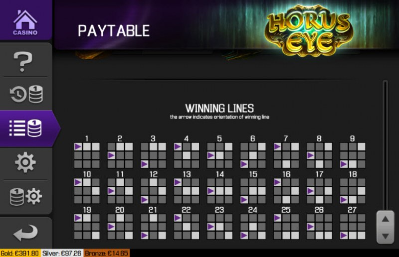 Horus Eye :: Paylines 1-27