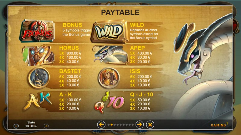 Horus Temple :: Paytable