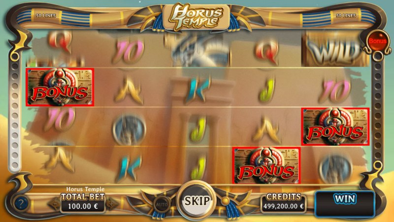 Horus Temple :: Any winning combination triggers the streak feature