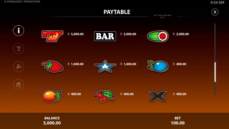 Hot 7 Hold & Spin :: Paytable