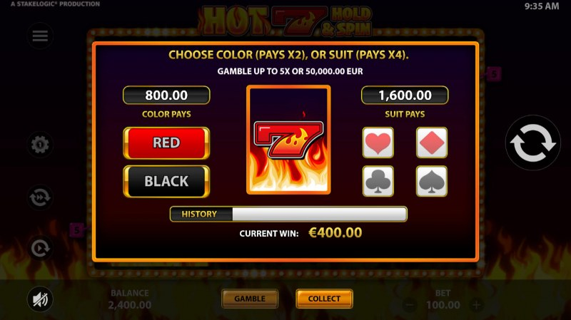 Hot 7 Hold & Spin :: Gamble feature is available after every win