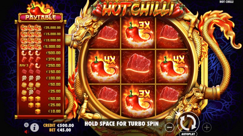 Play slots at Fluffy Spins: Fluffy Spins featuring the Video Slots Hot Chilli with a maximum payout of $25,000