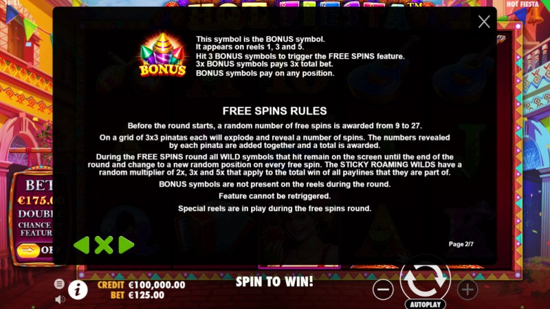 Hot Fiesta :: Free Spin Feature Rules
