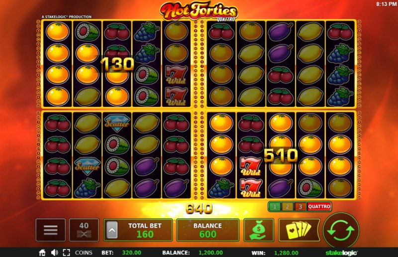 Hot Forties Quattro :: Multiple winning paylines