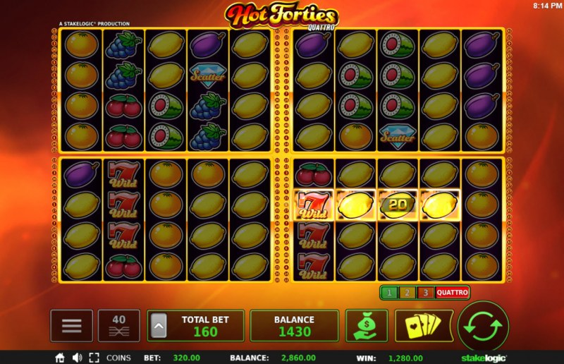 Hot Forties Quattro :: Multiple winning combinations leads to a big win