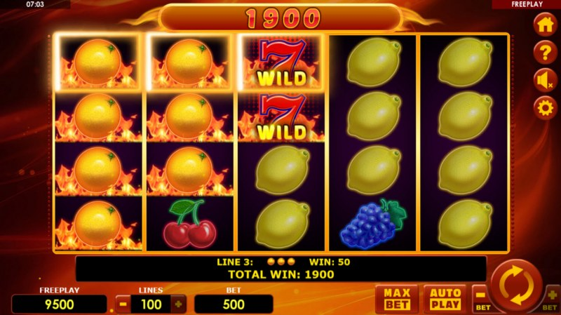 Hot Fruits 100 :: Multiple winning paylines