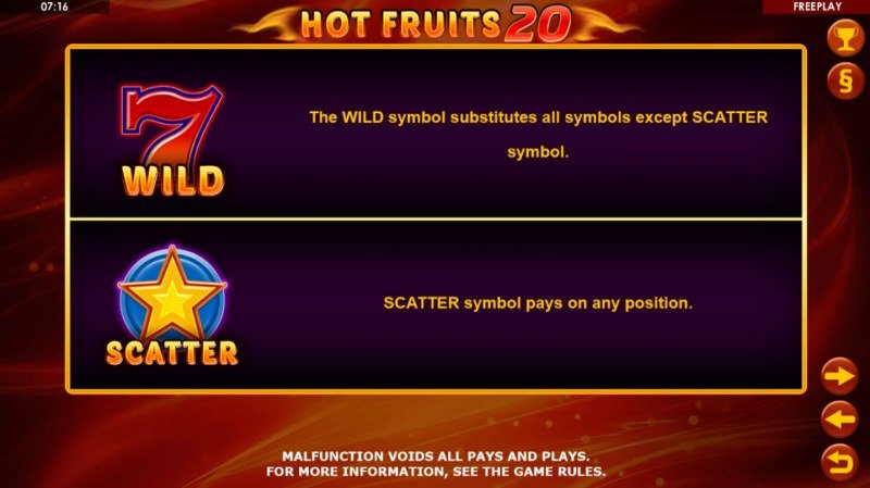 Hot Fruits 20 :: Wild and Scatter Rules