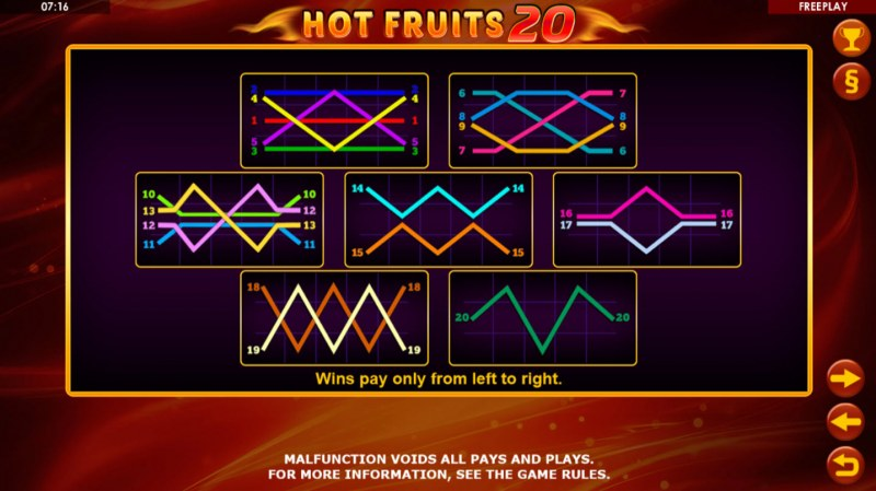 Hot Fruits 20 :: Paylines 1-20
