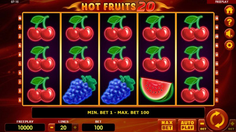 Hot Fruits 20 :: Main Game Board