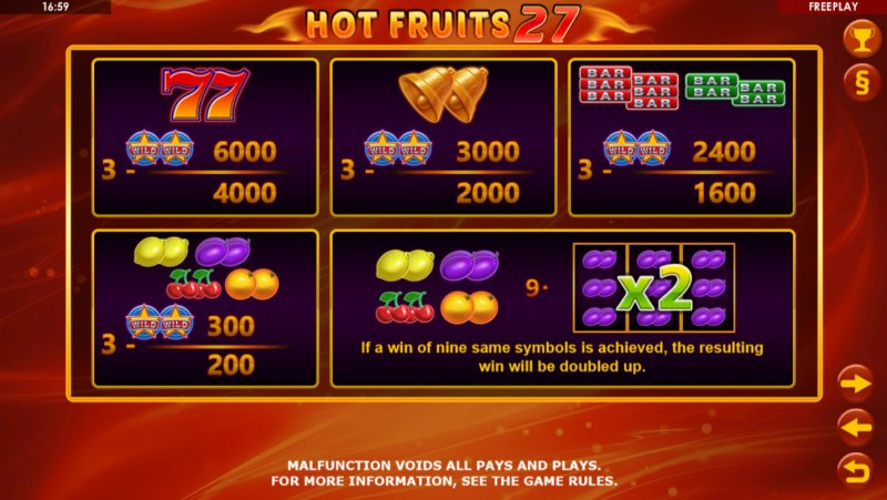 Hot Fruits 27 :: Paytable
