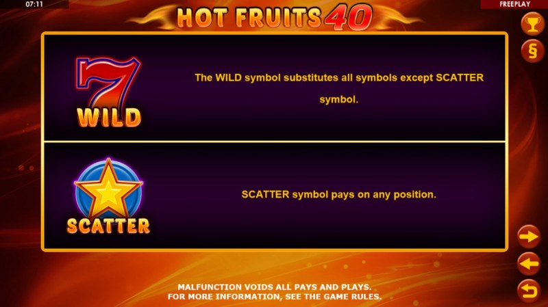 Hot Fruits 40 :: Wild and Scatter Rules