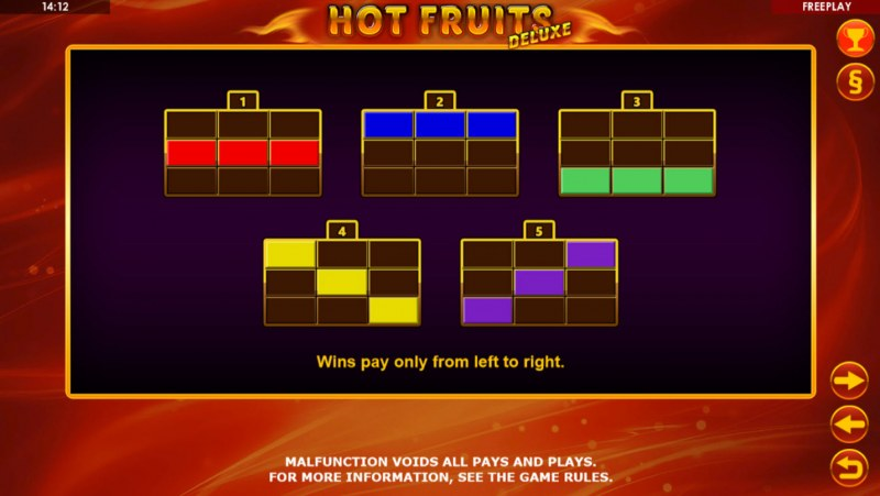 Hot Fruits Deluxe :: Paylines 1-5